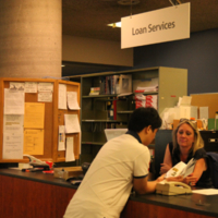 Loan Services Desk at the Engineering and Computer Science Library
