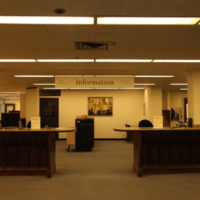 This is the main information desk at Gerstein Library. It is on the first floor just past the lobby entrance on the righ...