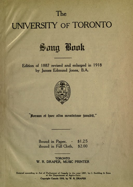 The University of Toronto Song Book