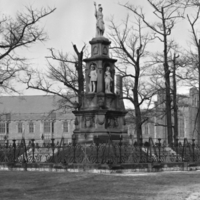 Volunteers' Monument, Queen's Park, with Hart House in the background.
