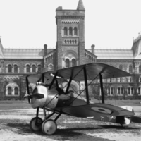 Airplane in front of University College