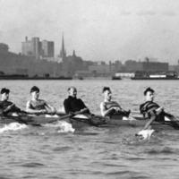 Varsity senior eight-man rowing crew, Canadian Champions, in Toronto Harbour