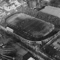 Aerial view of Varsity Stadium  taken during the 1954 Grey Cup, Montreal vs Edmonton.