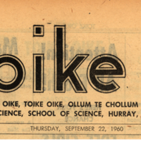 Banner of the Toike Oike, Thursday Sept. 22 1960
