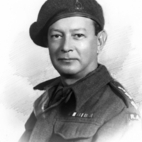 Captain Jacob Markowitz in battledress on return to England, 1945