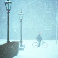 Bicycling across campus in a snow storm