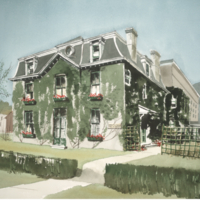 Water colour painting of the Old School of Nursing Building, 7 Queen's park