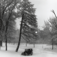 Winter scene of campus from north door of Engineering Building