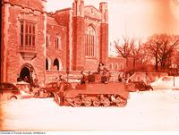 Bren carrier (tank) on campus