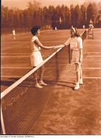 Intercollegiate Women's  Tennis, top players from McGill & Queen's shake hands at net