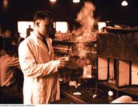 Medical Student Jack Temple in organic lab (spring term)