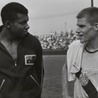 Runners Bruce Kidd and Harry Jerome at British Empire Game Trials at East York, August 1962
