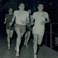 Bob Raymer, Jim Snider, Orville Atkins and Bruce Kidd training in Hart House