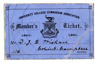 Membership ticket for the University College Gymnasium