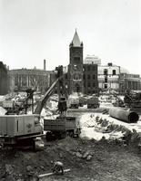 Tearing down the 'Old Red Skulehouse', 1967 to make way for the Medical Sciences Building,