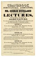 Announcement of lectures by George Buckland  (1805-1885)  to the Cranbrook Agricultural Association, 1846.