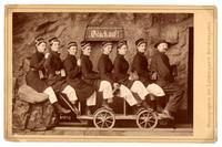 """""""Going down the salt mines"""", taken in Berchtesgaden, Germany in June, 1889 showing Professor William Henry Vander Smisse..."""