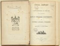 Commission of Enquiry, King's College,  Final report of Commissioners....(1852), with bookplate of the Baldwins of ...