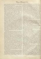 Editorial appearing in the Varsity 9 October 1895, critical of the Commission of Inquiry in the 1895 Student Strike. Page 2