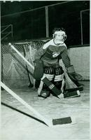 Phyllis Hart, goalie of the Ladies' Intercollegiate Hockey Team, 1961