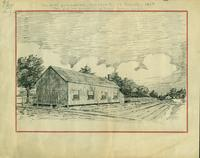Pen and ink sketch by W. J. Loudon of the first gymnasium at University College, 1866