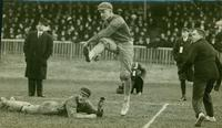 Jack Maynard, captain of the Varsity Rugby Team, kicks winning goal for the Rugby Football Dominion Championship, 1910