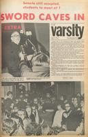 "Varsity front page for March 14, 1972 -  headline reads ""Sword Caves In"", in reference to students' deman..."
