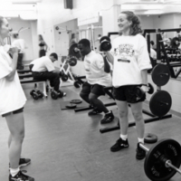 Erindale College, students lifting weights