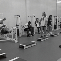 Students exercising at Erindale College