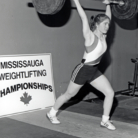 Student lifting weight at Mississauga Weightlifting Championships