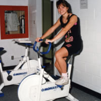 Erindale College, student on stationary bike