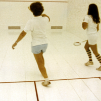 Two players playing squash at Erindale College