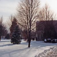 Erindale College (UTM), North Building, snowy pathway