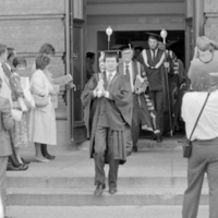 UTM Convocation (June 1986), procession leaving Convocation Hall