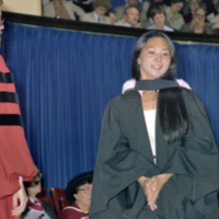 UTM Convocation (June 1980), graduate leaving stage after being hooded