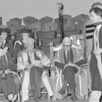 UTM Convocation (June 1986), graduate leaving stage after being hooded