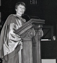 UTM convocation (June 1992), Honorary degree recipient, Astronaut Roberta Bondar, speaking