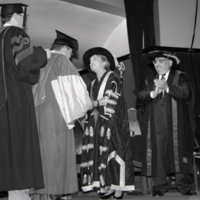 UTM Convocation (June 1994), Honorary degree recipient, Iggy Kaneff shakes hands with Chancellor Rose Wolfe