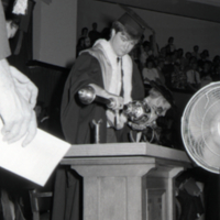 UTM Convocation (June 1990), University of Toronto Mace placed by beadle