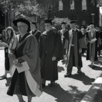 UTM Convocation (June 1991), members of the procession walking to Convocation Hall