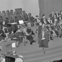 UTM Convocation (November 1987), graduates stepping up to shake hands with president and chancellor