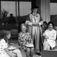 UTM Convocation (1970 June), Garden Party, J. Tuzo Wilson with unidentified people