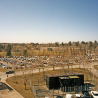 UTM, aerial view of North Building and parking lots from roof of Central Utilities Plant