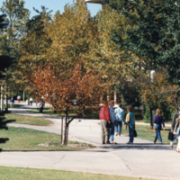 Students walk along pathway by South Building