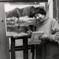 Doris McCarthy painting in her studio