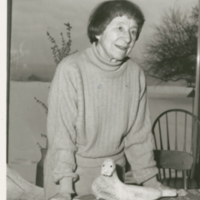 Doris McCarthy at Home with Seal Sculpture