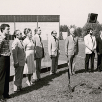 Margaret Birch,  President J. M. Ham, John Ball and Others at Groundbreaking for V.W. Bladen Library