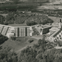 Aerial shot of the Humanities, Science, and Recreation Wings