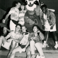 Students with Mascot Rocky Raccoon at Orientation Event