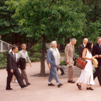 Prinicipal Paul Thompson and others on Scarborough Campus Walkway